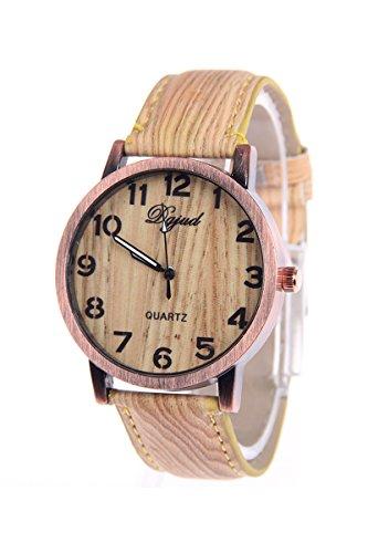 Armbanduhr SODIAL R Unisex Kunstleder Band Holzmaserung Armbanduhr Typ A