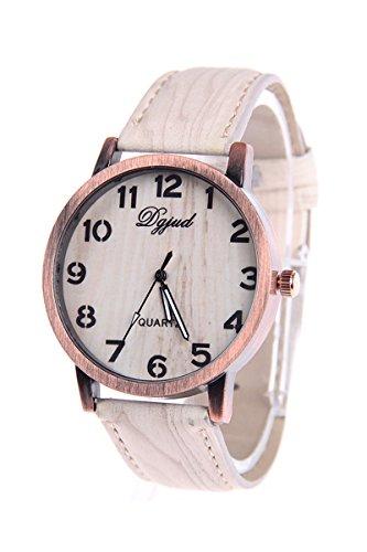 Armbanduhr SODIAL R Unisex Kunstleder Band Holzmaserung Armbanduhr Typ D