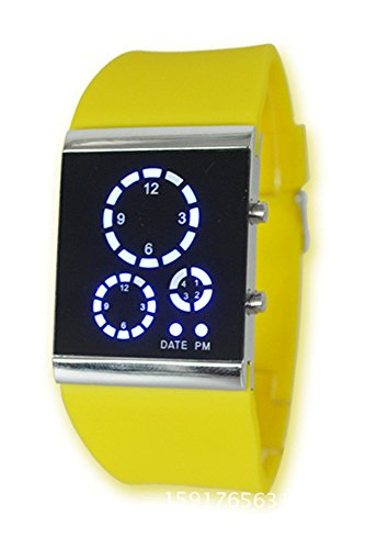 Armbanduhr SODIAL R Herren Damen Stunden Trend Uhr Silikon Band Digital LED Uhrzeit und Datumsanzeige Sportuhr Multifunktions Gelb