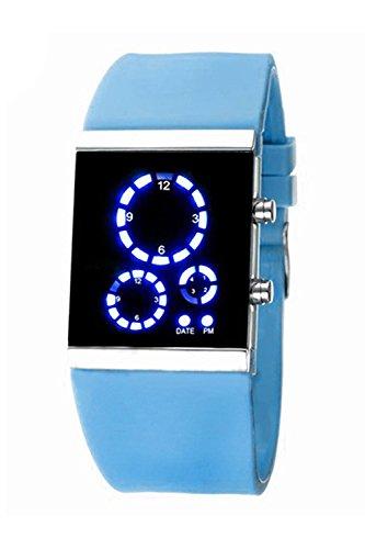 Armbanduhr SODIAL R Herren Damen Stunden Trend Uhr Silikon Band Digital LED Uhrzeit und Datumsanzeige Sportuhr Multifunktions Hellblau