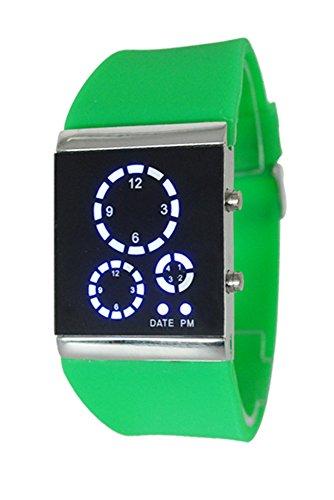 Armbanduhr SODIAL R Herren Damen Stunden Trend Uhr Silikon Band Digital LED Uhrzeit und Datumsanzeige Sportuhr Multifunktions Gruen