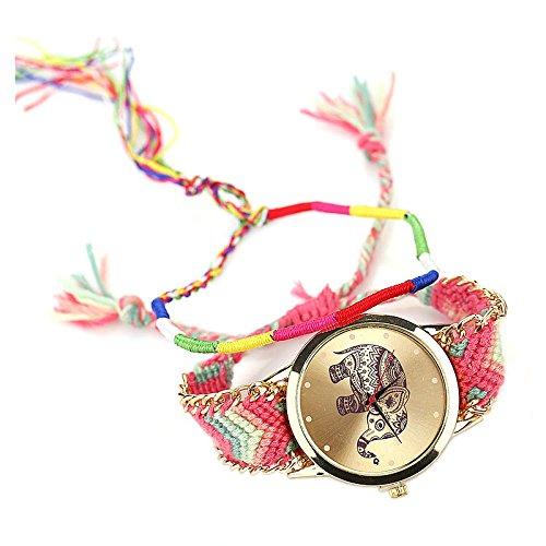 Bunte Armbanduhr SODIAL R Bunte Damen Elefant Armbanduhr Quarzuhr Geflochtes Armkette rosa