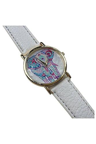 Dame Armbanduhr SODIAL R Frauen Elefant Muster Ziffernblatt laessig Armbanduhr weiss