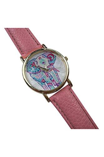 Dame Armbanduhr SODIAL R Frauen Elefant Muster Ziffernblatt laessig Armbanduhr rosa