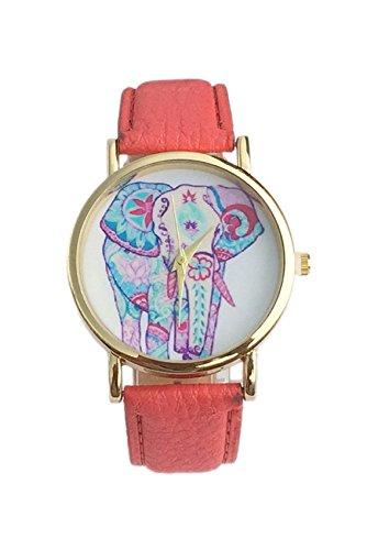 Dame Armbanduhr SODIAL R Frauen Elefant Muster Ziffernblatt laessig Armbanduhr rot