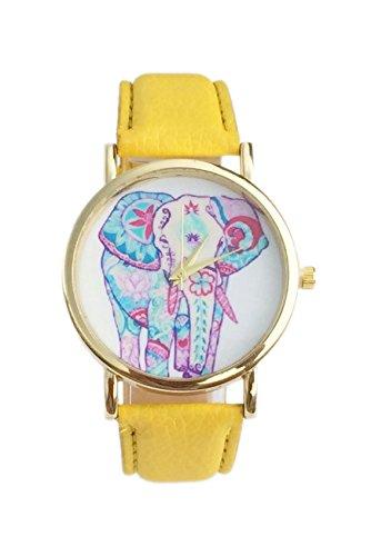 Dame Armbanduhr SODIAL R Frauen Elefant Muster Ziffernblatt laessig Armbanduhr gelb