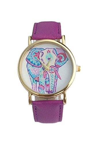 Dame Armbanduhr SODIAL R Frauen Elefant Muster Ziffernblatt laessig Armbanduhr lila