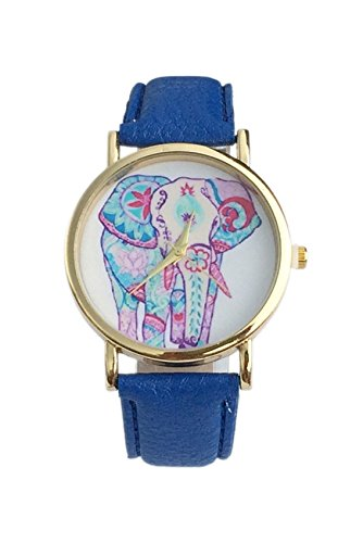 Dame Armbanduhr SODIAL R Frauen Elefant Muster Ziffernblatt laessig Armbanduhr Saphirblau