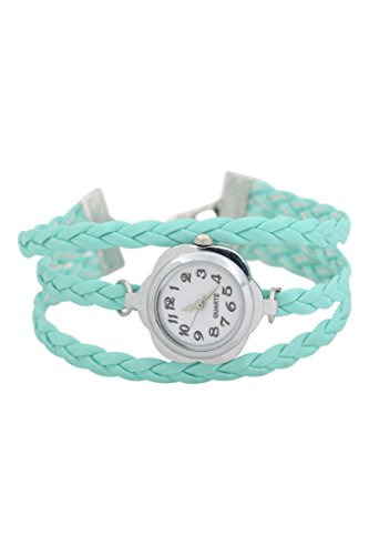 Dame Armbanduhr SODIAL R Frauen Blumen Kasten geflochtenes Armband Armbanduhr Hellblau