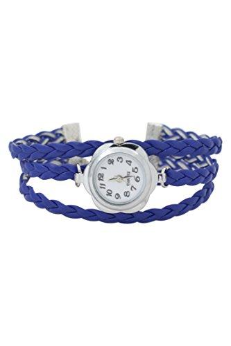 Dame Armbanduhr SODIAL R Frauen Blumen Kasten geflochtenes Armband Armbanduhr Saphirblau
