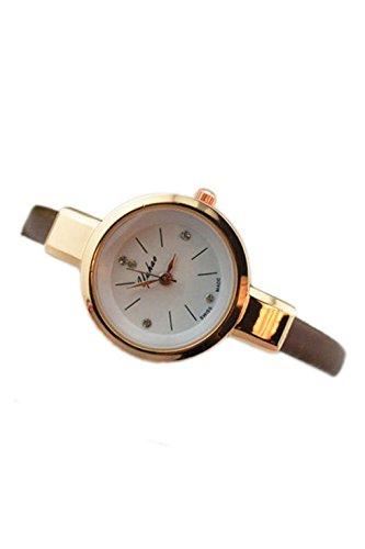 Dame Armbanduhr SODIAL R Frauen Dame Duenn Leder Buegel Armbanduhr kaffee