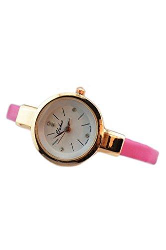 Dame Armbanduhr SODIAL R Frauen Dame Duenn Leder Buegel Armbanduhr rosa rot