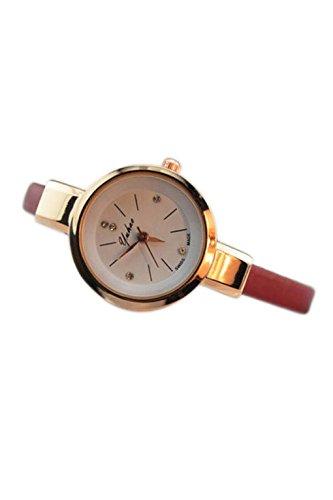 Dame Armbanduhr SODIAL R Frauen Dame Duenn Leder Buegel Armbanduhr Rot