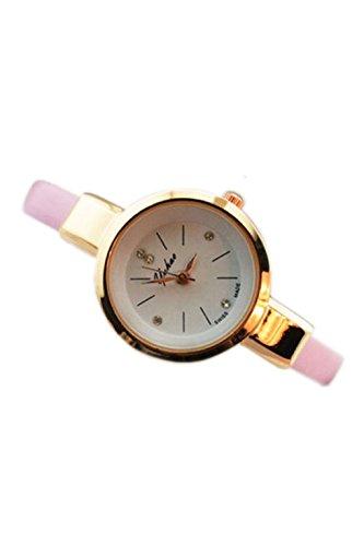 Dame Armbanduhr SODIAL R Frauen Dame Duenn Leder Buegel Armbanduhr rosa