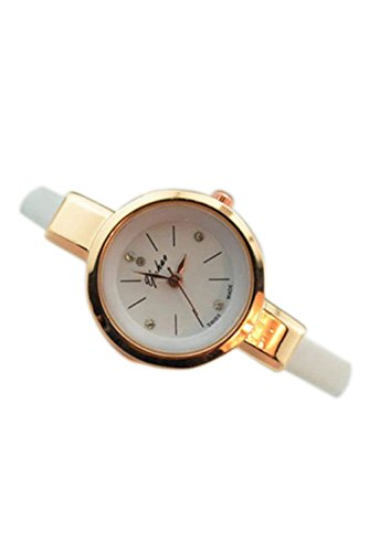Dame Armbanduhr SODIAL R Frauen Dame Duenn Leder Buegel Armbanduhr weiss