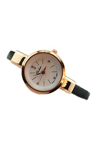 Dame Armbanduhr SODIAL R Frauen Dame Duenn Leder Buegel Armbanduhr schwarz