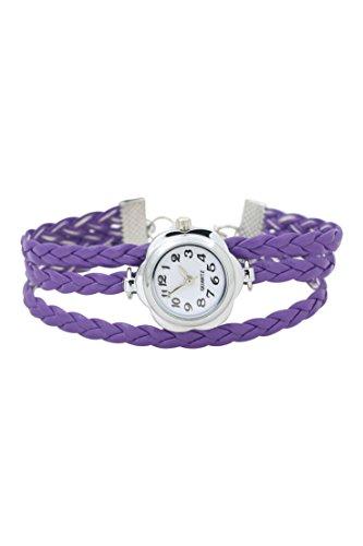 Dame Armbanduhr SODIAL R Frauen Blumen Kasten geflochtenes Armband Armbanduhr lila