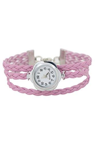 Dame Armbanduhr SODIAL R Frauen Blumen Kasten geflochtenes Armband Armbanduhr rosa