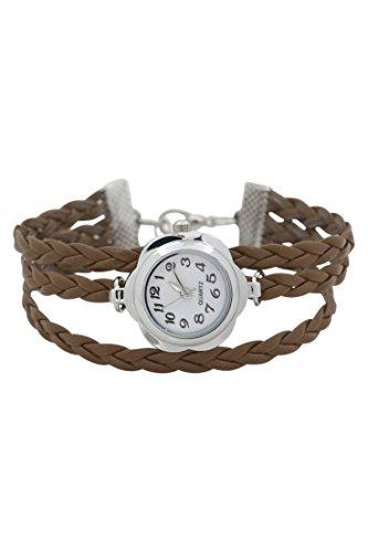 Dame Armbanduhr SODIAL R Frauen Blumen Kasten geflochtenes Armband Armbanduhr braun