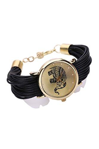 Dame Armbanduhr SODIAL R Frauen Elefant Ziffernblatt Geflochtene Verpackungs Armband Armbanduhr schwarz