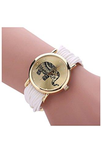 Dame Armbanduhr SODIAL R Frauen Elefant Ziffernblatt Geflochtene Verpackungs Armband Armbanduhr weiss
