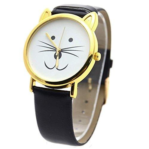 Damen Katze Bart Kunstleder Armband Armbanduhr Schwarz