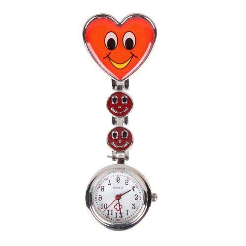 Design Krankenschwesteruhr SODIAL R Smiley Herz Design Krankenschwesteruhr Quarzuhr Taschenuhr mit Clip Rot