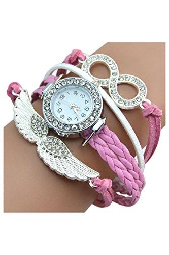 Engelsfluegel Armreif SODIAL R Damen Charme Strass Design Kunstleder Engelsfluegel Armreif Armbanduhr Rosa