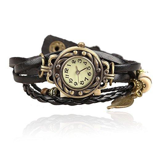 Frauen Armbanduhr SODIAL R Fashion Runde Armband mit Weave Kunstlederband Schwarz