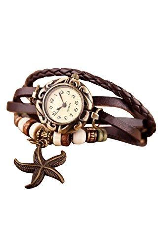 Frauen Armbanduhr SODIAL R Frauen Maedchen Armband Starfish Dekoration Armbanduhr mit Anhaenger Braun