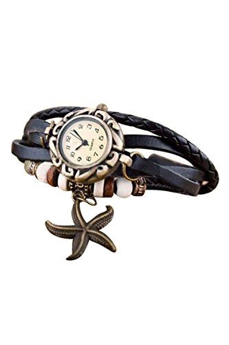 Frauen Armbanduhr SODIAL R Frauen Maedchen Armband Starfish Dekoration Armbanduhr mit Anhaenger Schwarz