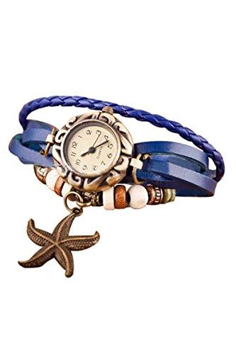 Frauen Armbanduhr SODIAL R Frauen Maedchen Armband Starfish Dekoration Armbanduhr mit Anhaenger Hellblau