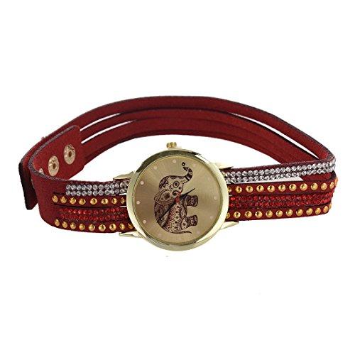 Frauen Armbanduhr SODIAL R Frauen Elefant Zifferblatt Nieten Multischichten Kunstleder Armbanduhr Rot