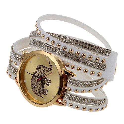 Frauen Armbanduhr SODIAL R Frauen Elefant Zifferblatt Nieten Multischichten Kunstleder Armbanduhr Weiss