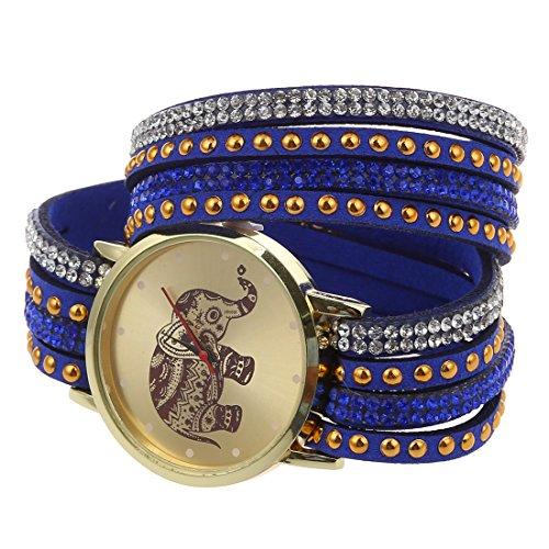 Frauen Armbanduhr SODIAL R Frauen Elefant Zifferblatt Nieten Multischichten Kunstleder Armbanduhr Blau