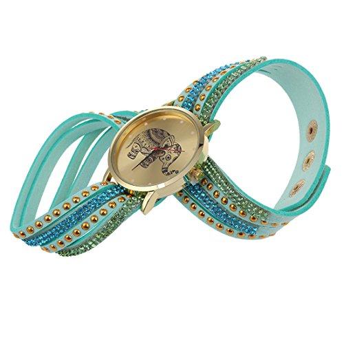 Frauen Armbanduhr SODIAL R Frauen Elefant Zifferblatt Nieten Multischichten Kunstleder Armbanduhr Himmelblau