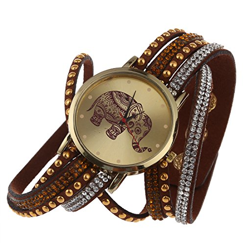 Frauen Armbanduhr SODIAL R Frauen Elefant Zifferblatt Nieten Multischichten Kunstleder Armbanduhr Braun