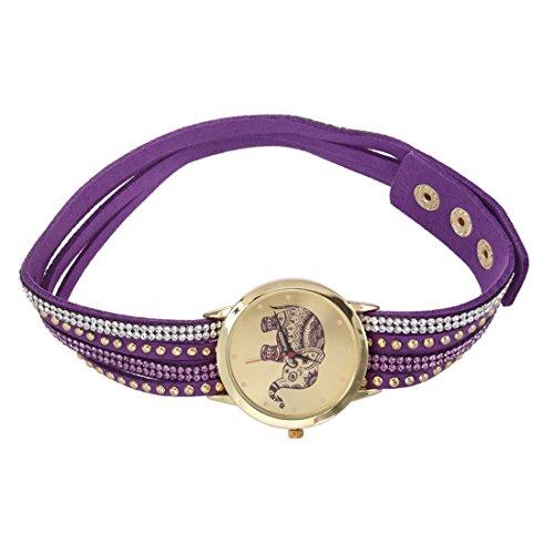 Frauen Armbanduhr SODIAL R Frauen Elefant Zifferblatt Nieten Multischichten Kunstleder Armbanduhr Lila
