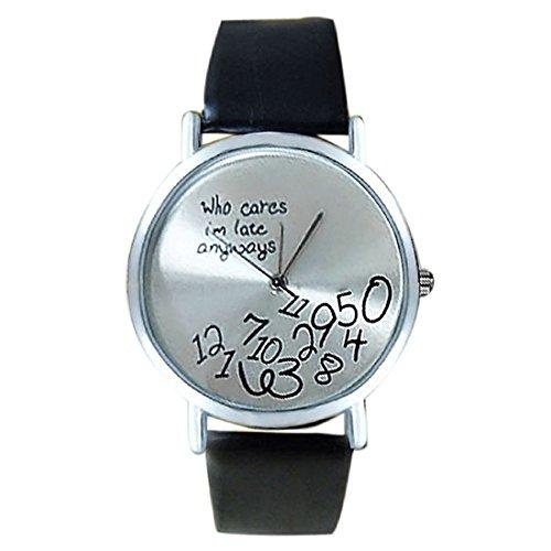 SODIAL R Neue Frauen Leder Uhr Who Cares I am Late Anyway Briefe Uhren Schwarz