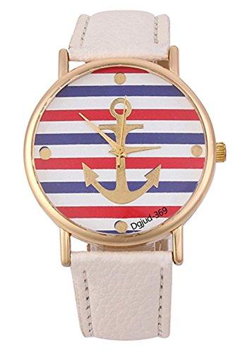 Gestreifte Armbanduhr SODIAL R Damen Gestreifte Anker Leder Armbanduhr Weiss