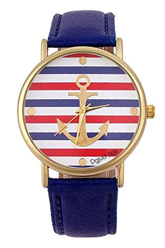 Gestreifte Armbanduhr SODIAL R Damen Gestreifte Anker Leder Armbanduhr Koenigsblau
