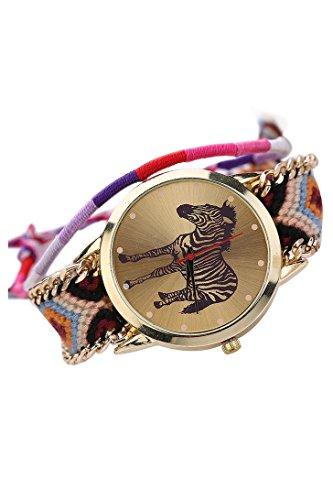 Gewebt Quarz Uhr SODIAL R Damen Handgefertigt Gewebt Geflochtene Zebra Armband Zifferblatt Quarz Uhr Farbstile 2