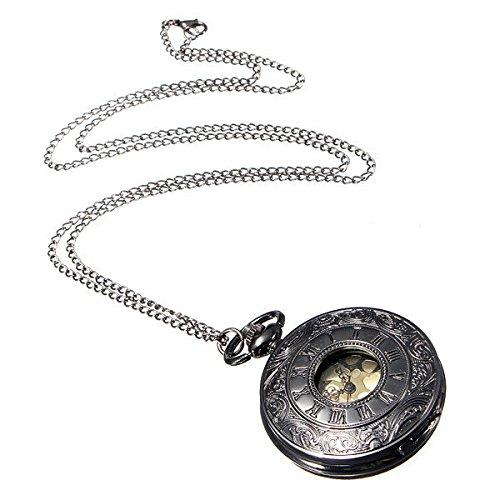 Halskette Taschenuhr SODIAL R Schwarze Roemische Ziffern Weinlese Steampunk Halskette Quarz Taschenuhr