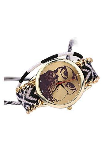 Handgefertigt SODIAL R Damen Eulenmuster Zifferblatt Handgefertigt geflochtenen Seil Armband Analog Quarz Armreif Armbanduhr Farbstile 9
