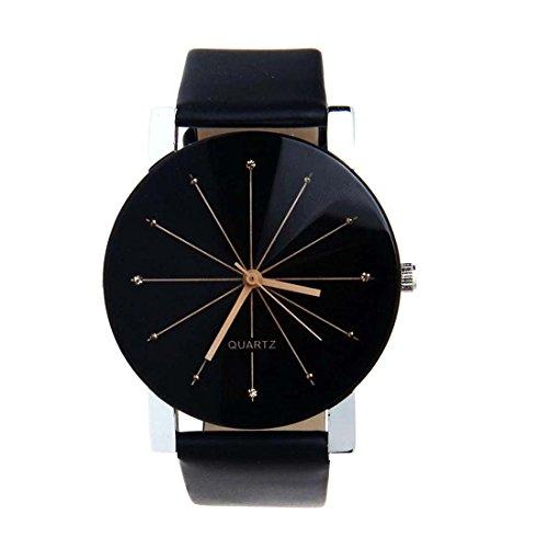 SODIAL R Quarzuhr Armbanduhr Elegant Uhr Modisch Zeitloses Design Klassisch Leder Schwarz