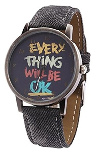 Kartoon Armbanduhr SODIAL R Damen Herren Everything will be ok Kartoon Kunstleder Band Quarz Kleid Armbanduhr Schwarz
