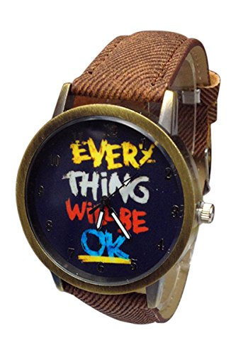 Kartoon Armbanduhr SODIAL R Damen Herren Everything will be ok Kartoon Kunstleder Band Quarz Kleid Armbanduhr Braun