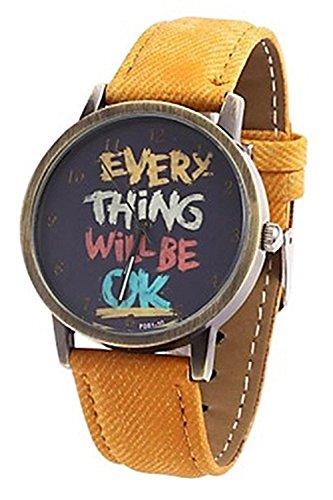 Kartoon Armbanduhr SODIAL R Damen Herren Everything will be ok Kartoon Kunstleder Band Quarz Kleid Armbanduhr Gelb