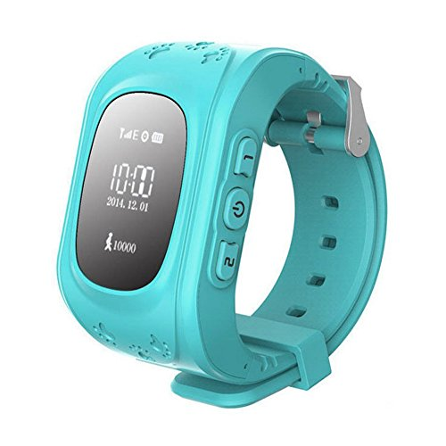 Kinder watch SODIAL R GPS Tracker Uhr Smartuhr Anti Verschwunden Kinder Smartwatch fuer Android und iPhone Blau