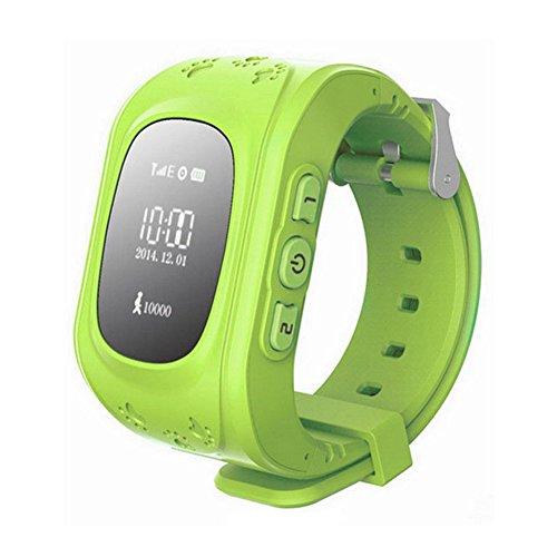 Kinder watch SODIAL R GPS Tracker Uhr Smartuhr Anti Verschwunden Kinder Smartwatch fuer Android und iPhone Gruen